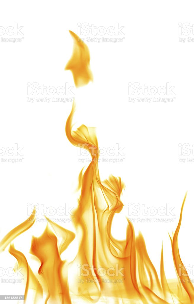 Yellow and orange flames on a white background stock photo