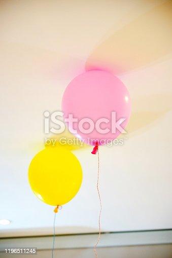 945748362 istock photo Yellow and pink balloon 1196511245