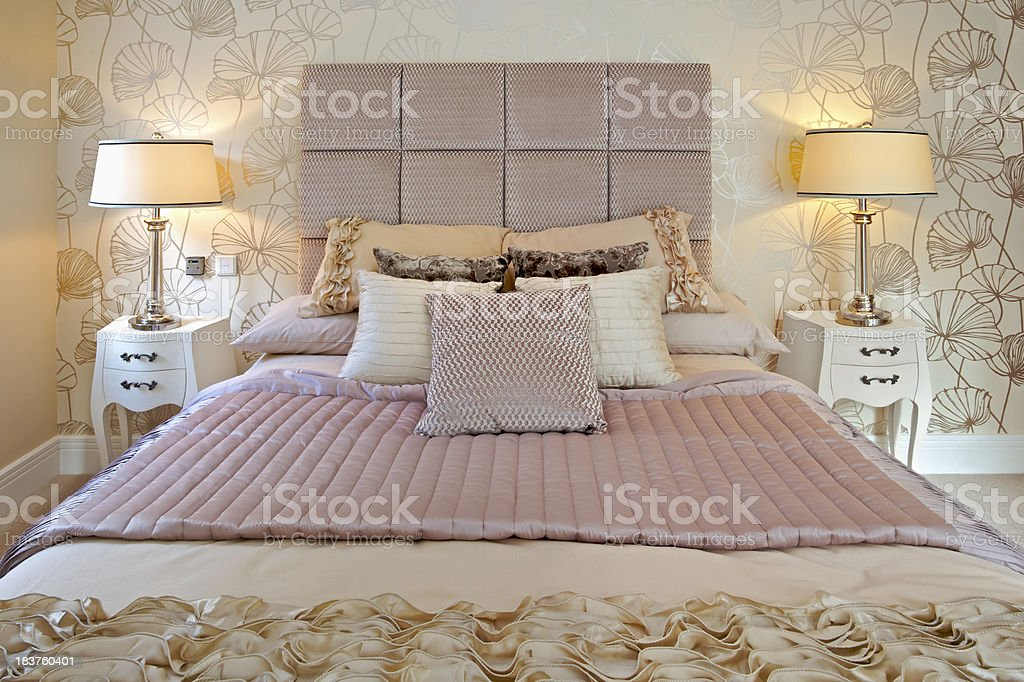 yellow and pink bedroom royalty-free stock photo
