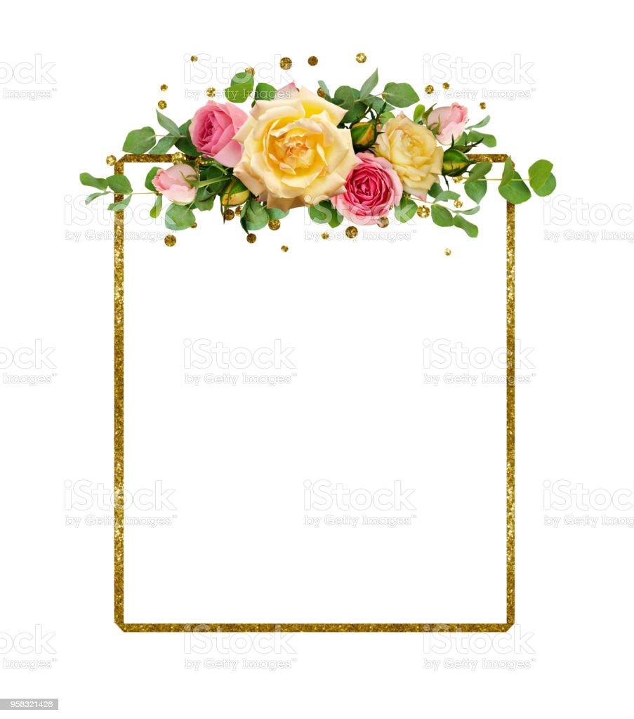 Fotografía de Flores Color De Rosa Amarillas Y Rosas Con Brillo De ...