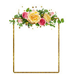 istock Yellow and pink rose flowers with eucalyptus leaves and golden glitter frame 958321426