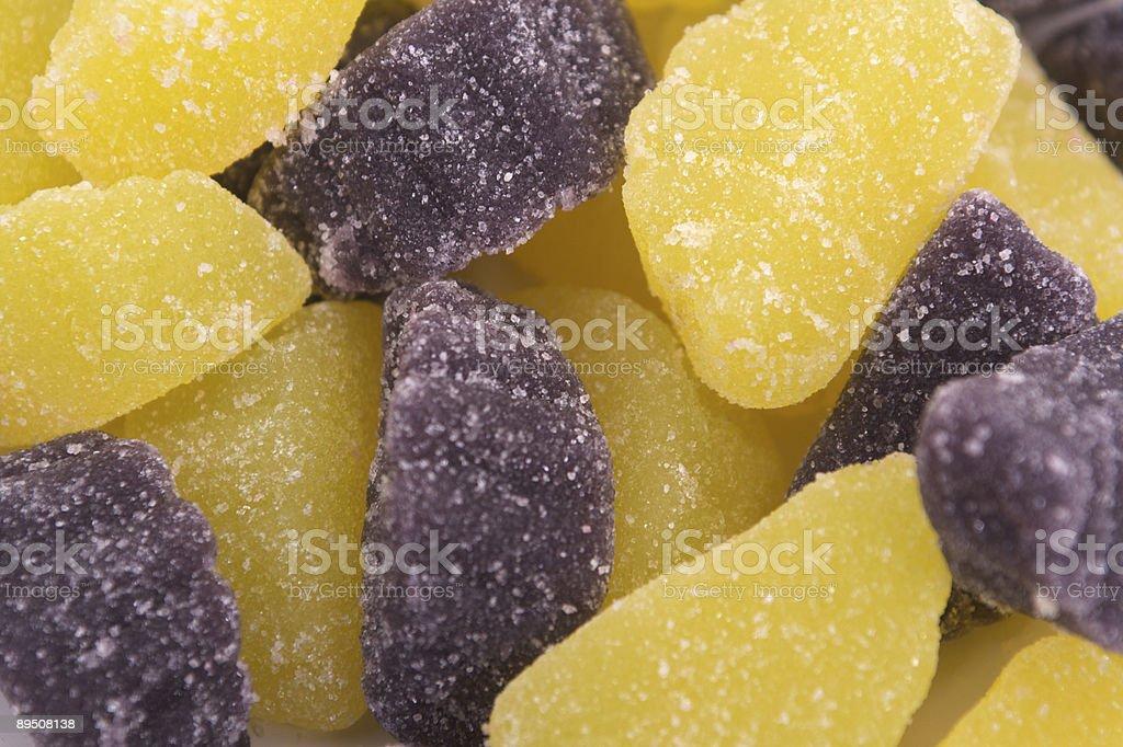 Gelbe und Purple Candy Scheiben Lizenzfreies stock-foto