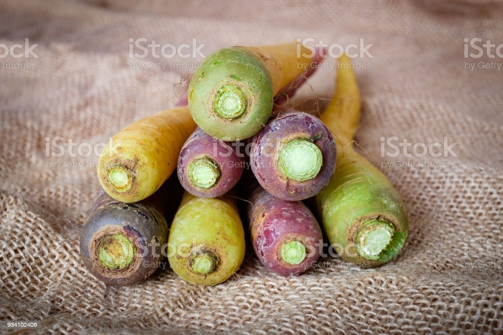 Yellow and purple carrots of Polignano. Apulian food. Italy. stock photo