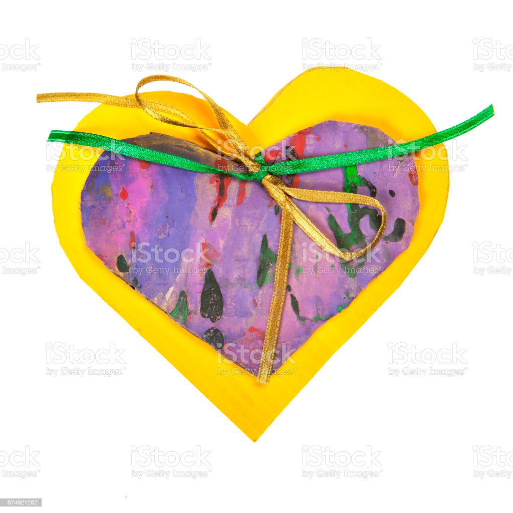 Yellow and purple paper heart royalty-free stock photo