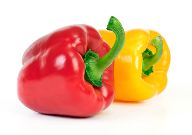 Yellow and red Bell Pepper Yellow and red bell pepper  isolated on white background. yellow bell pepper stock pictures, royalty-free photos & images
