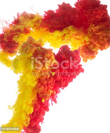 istock Yellow and red colorful ink in water abstract 918334658