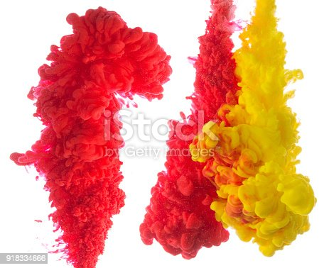 istock Yellow and red colorful ink in water abstract 918334666