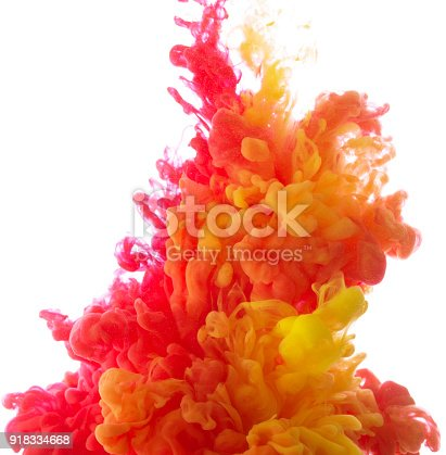 istock Yellow and red colorful ink in water abstract 918334668