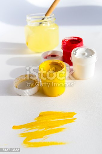 istock Yellow and red gouache colors 518713688