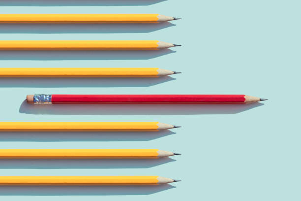 yellow and red  pencils - pencil stock pictures, royalty-free photos & images