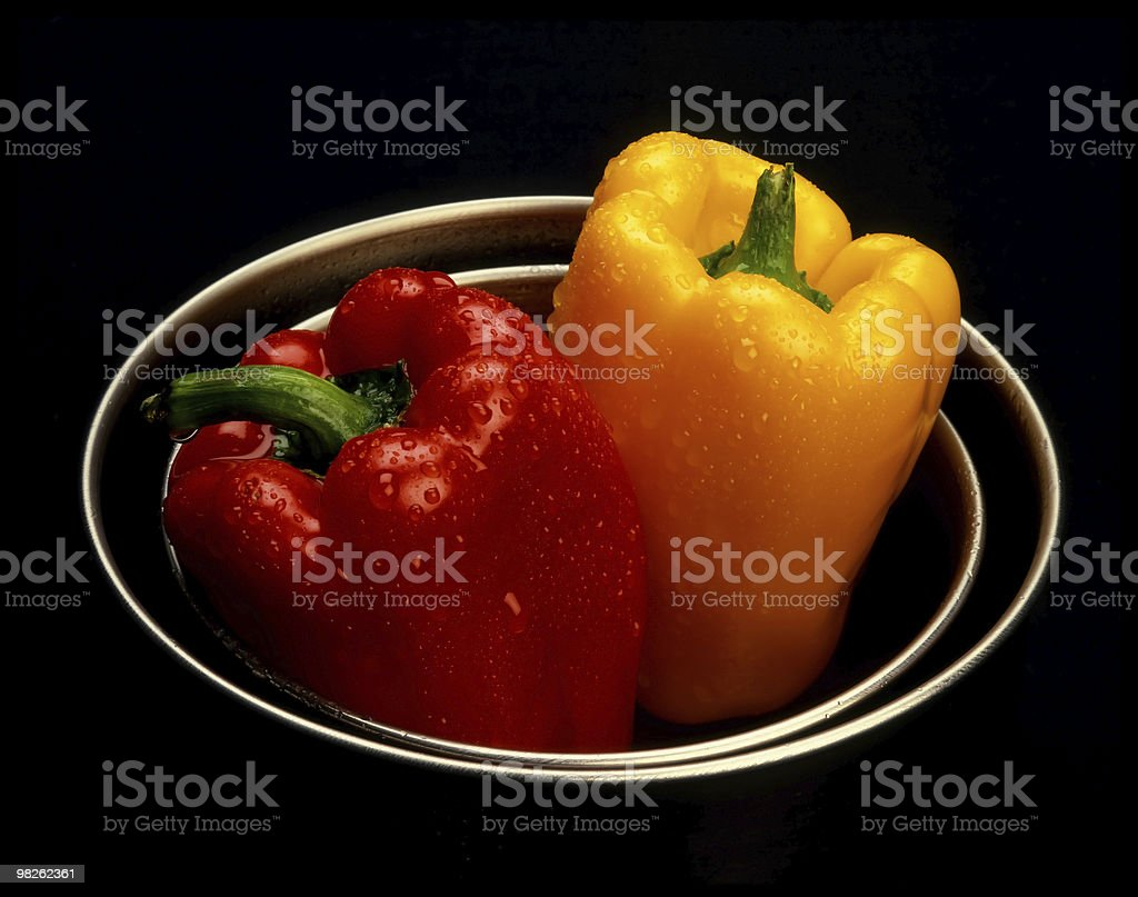 yellow and red peppers royalty-free stock photo