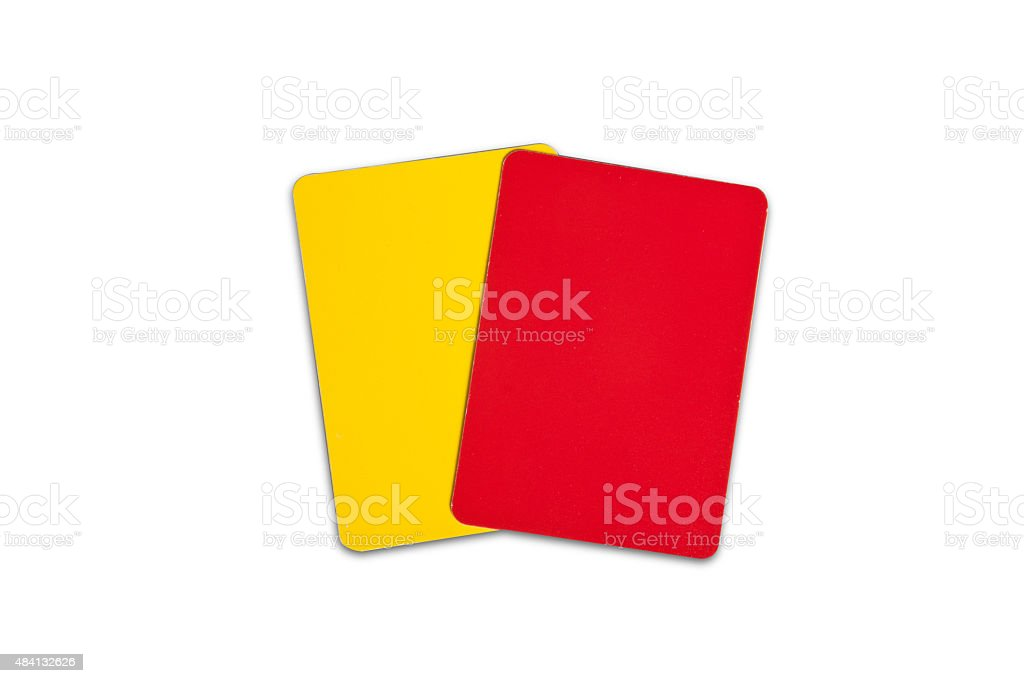 Yellow and Red Referee Cards (The file includes clipping path) stock photo