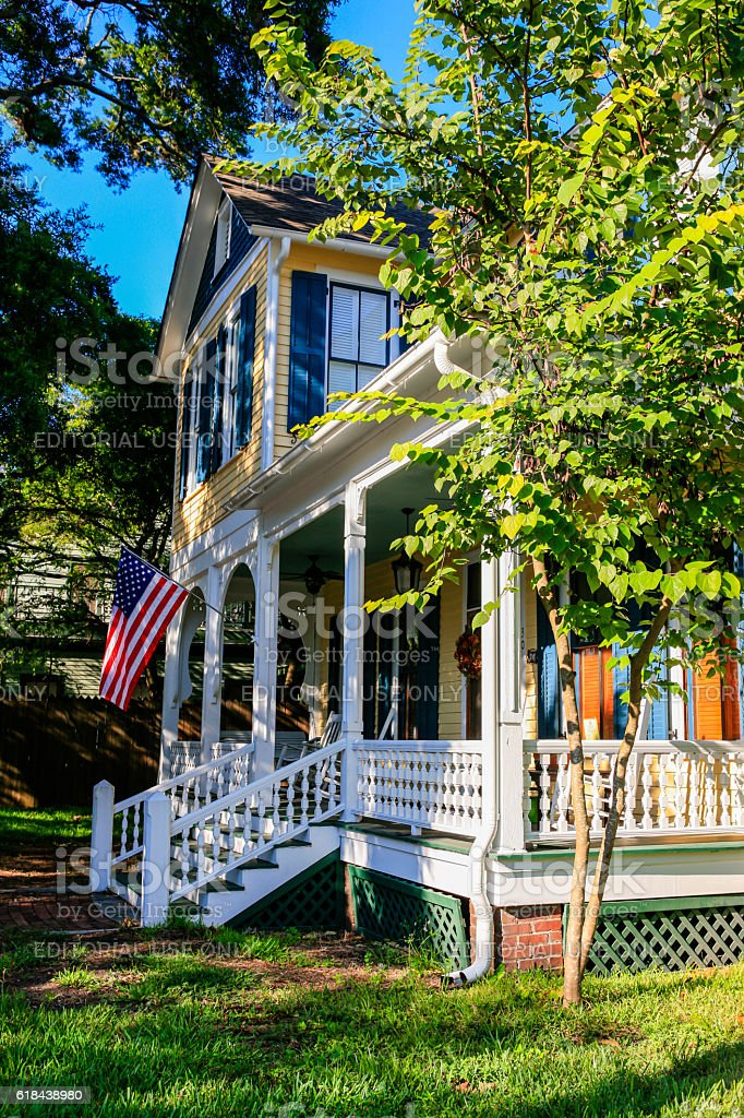 Yellow and white painted home in Fernandina Beach City, Florida stock photo