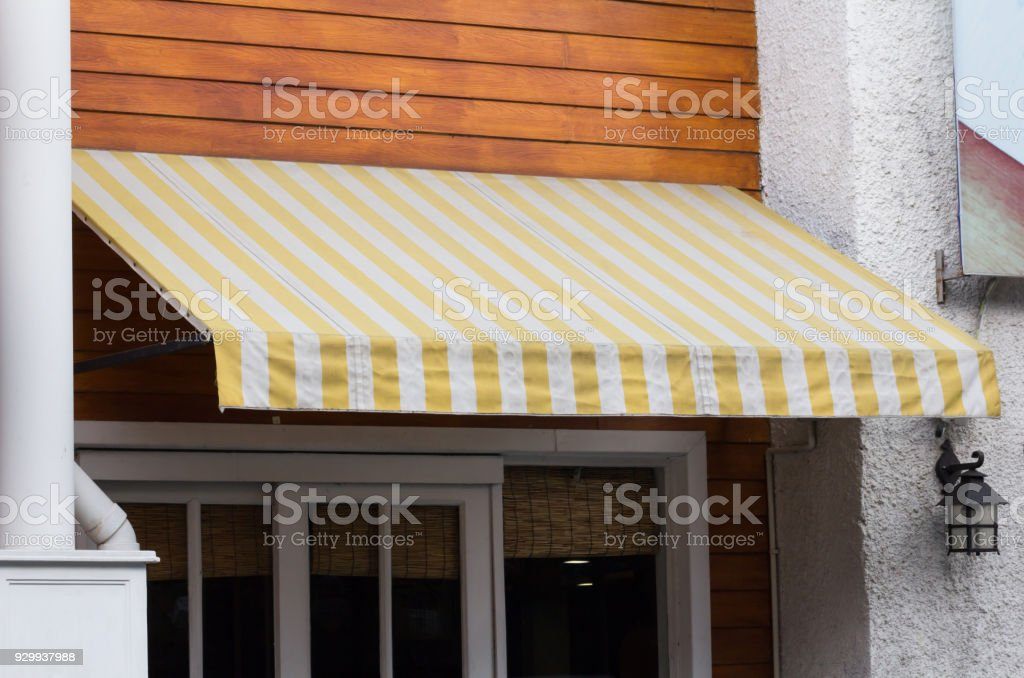Yellow And White Striped Awning Over Entrance At Shop Stock Photo Download Image Now Istock