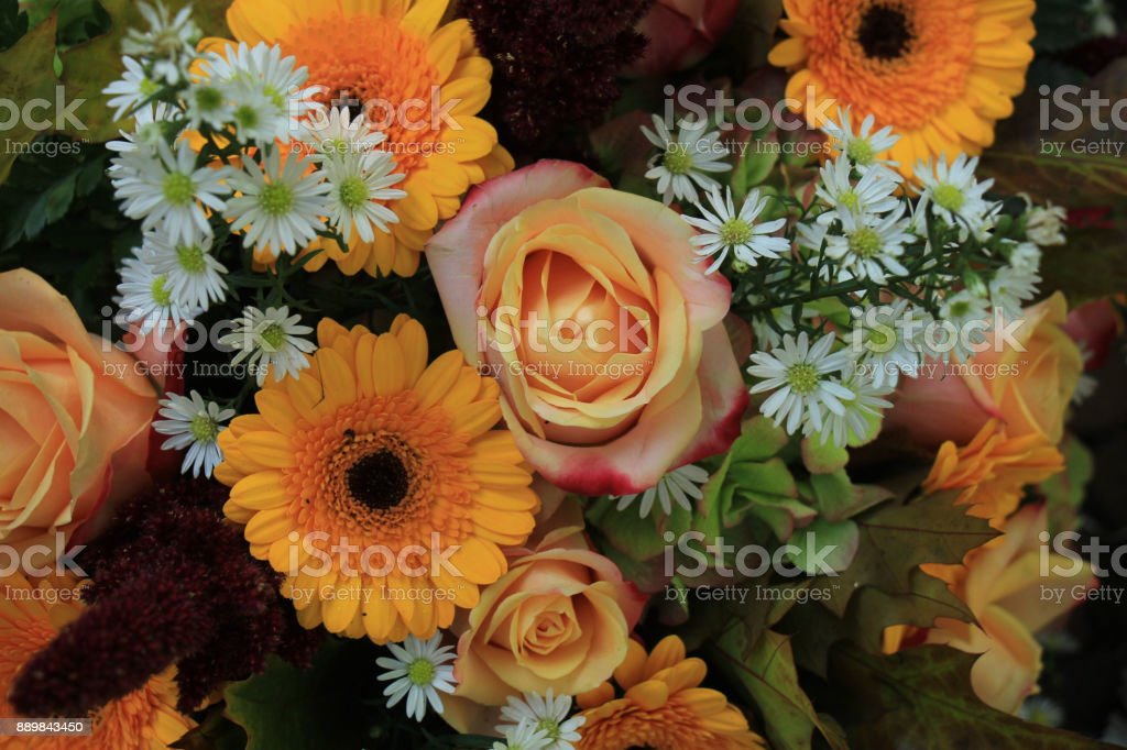 Yellow and white wedding flowers stock photo