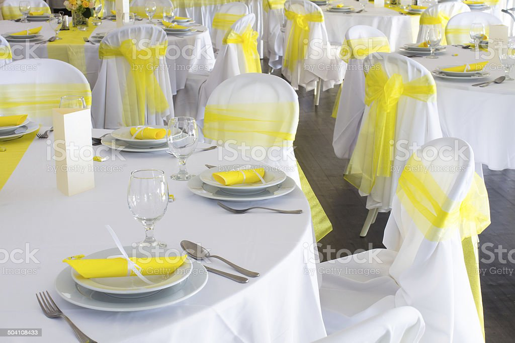 Yellow And White Wedding Table Decoration Stock Photo