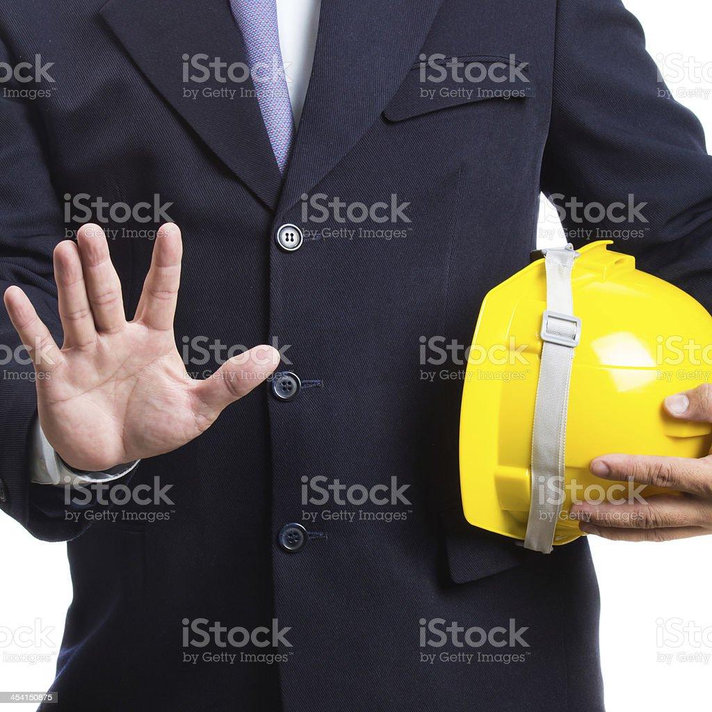 yellow anti-knock helmet royalty-free stock photo