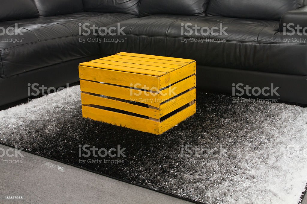 Yellow Apple Box As A Coffee Table Stock Photo Download Image Now Istock