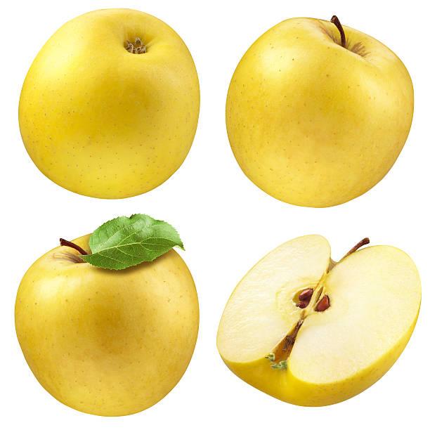 pomme jaune.  collection.  ensemble de fruits isolé sur blanc - golden photos et images de collection