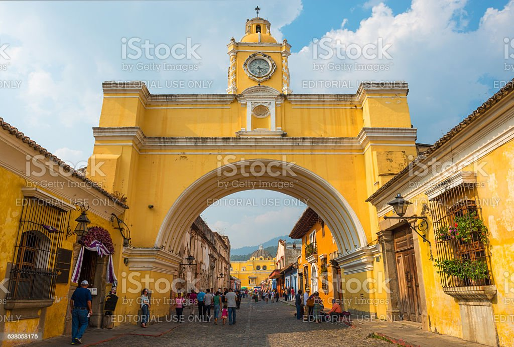 Yellow arch in Antigua stock photo