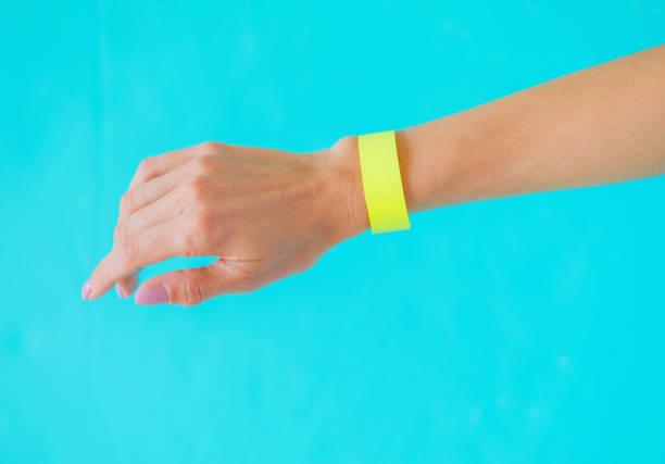 yellow arm bracelet wristband, template for your design - браслет стоковые фото и изображения