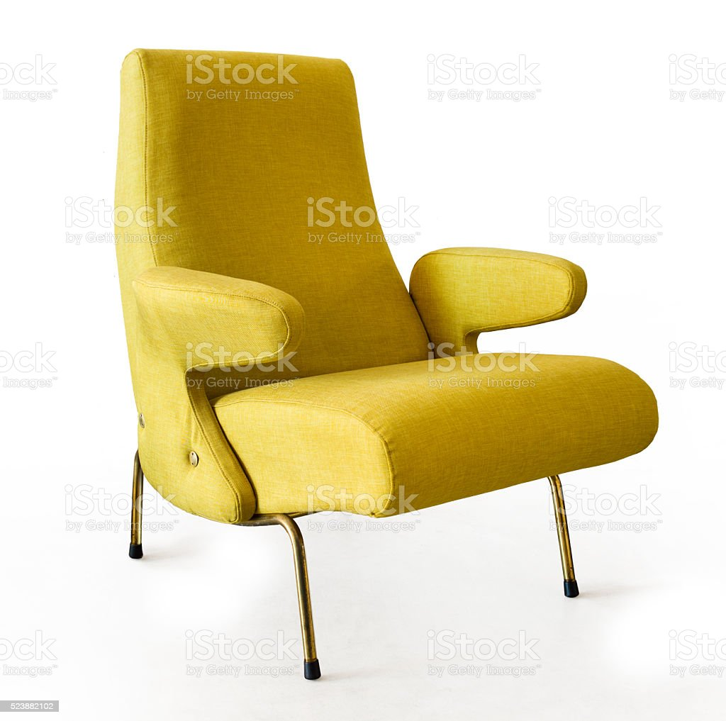 Yellow armchair Fifty style stock photo