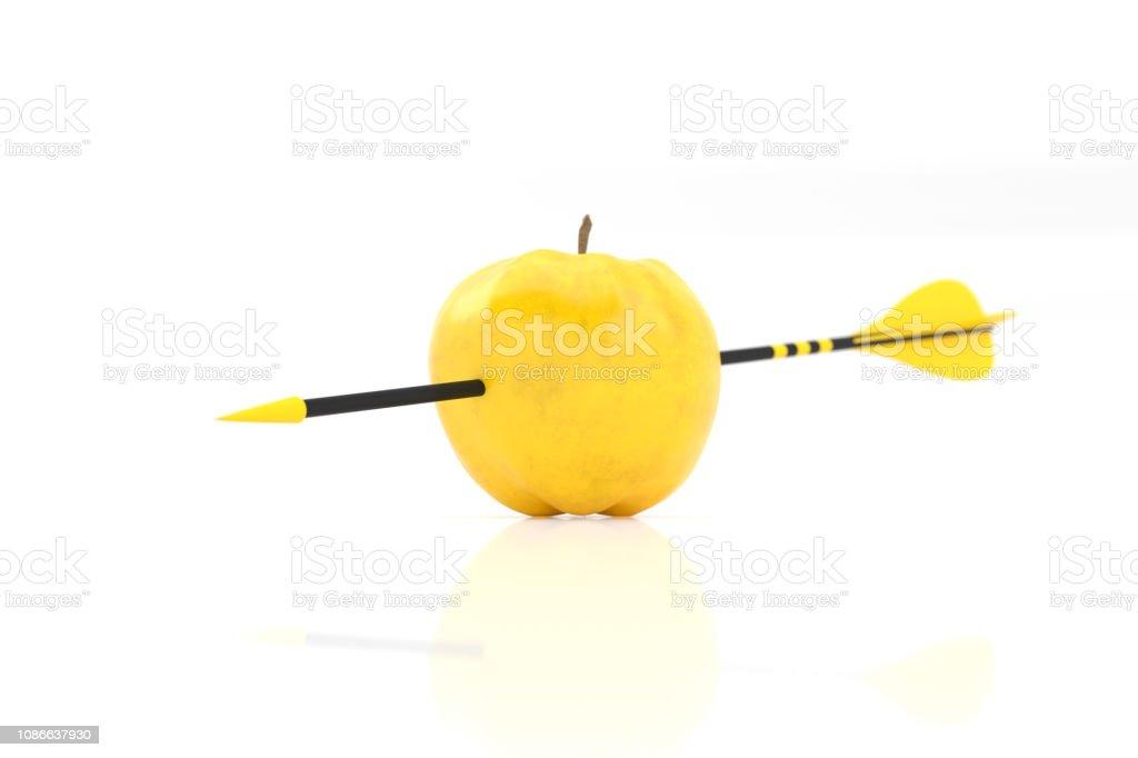 yellow arrow and yellow apple stock photo