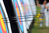 yellow headed arrows at target