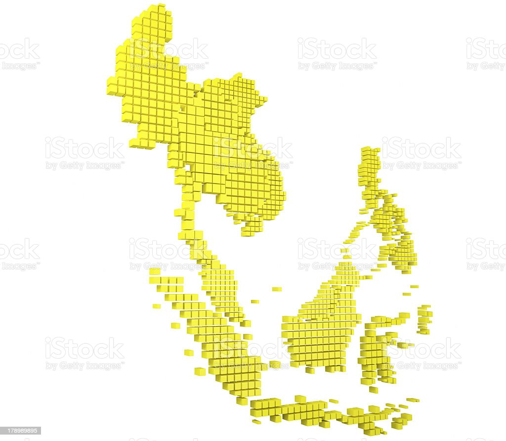 Yellow Asean Map royalty-free stock photo