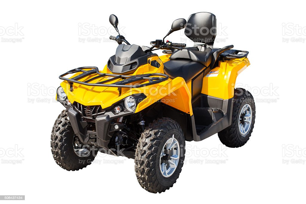 Yellow ATV quadbike isolated on white with clipping path stock photo