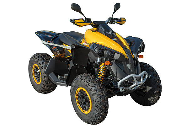 Yellow ATV quadbike isolated on white with clipping path Yellow ATV quadbike isolated on white with clipping path quadbike stock pictures, royalty-free photos & images