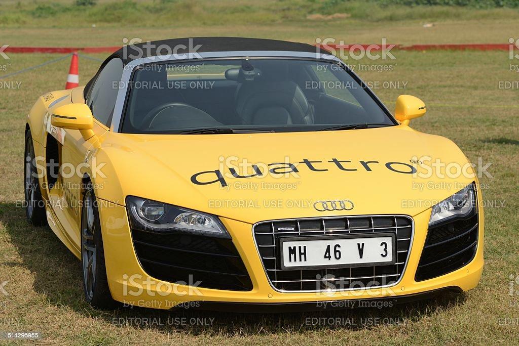 Yellow Audi Quattro stock photo