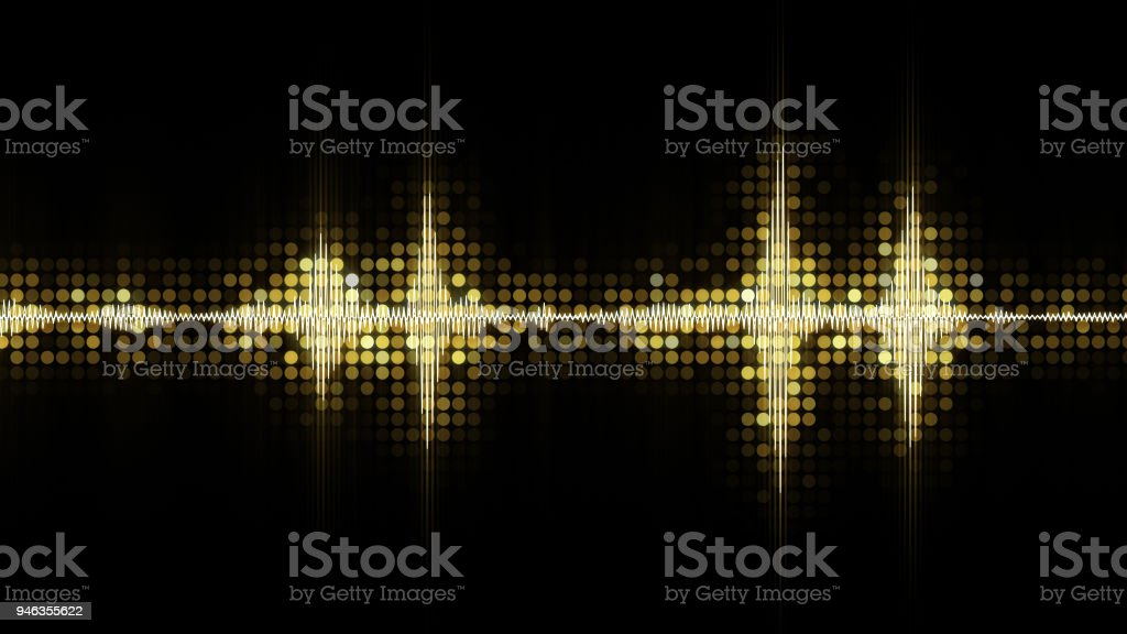Yellow audio waveform equalizer abstract festive background stock photo