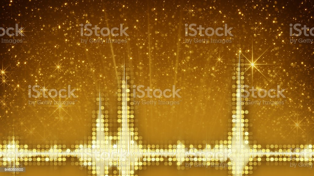 Yellow audio waveform equalizer and particles stock photo