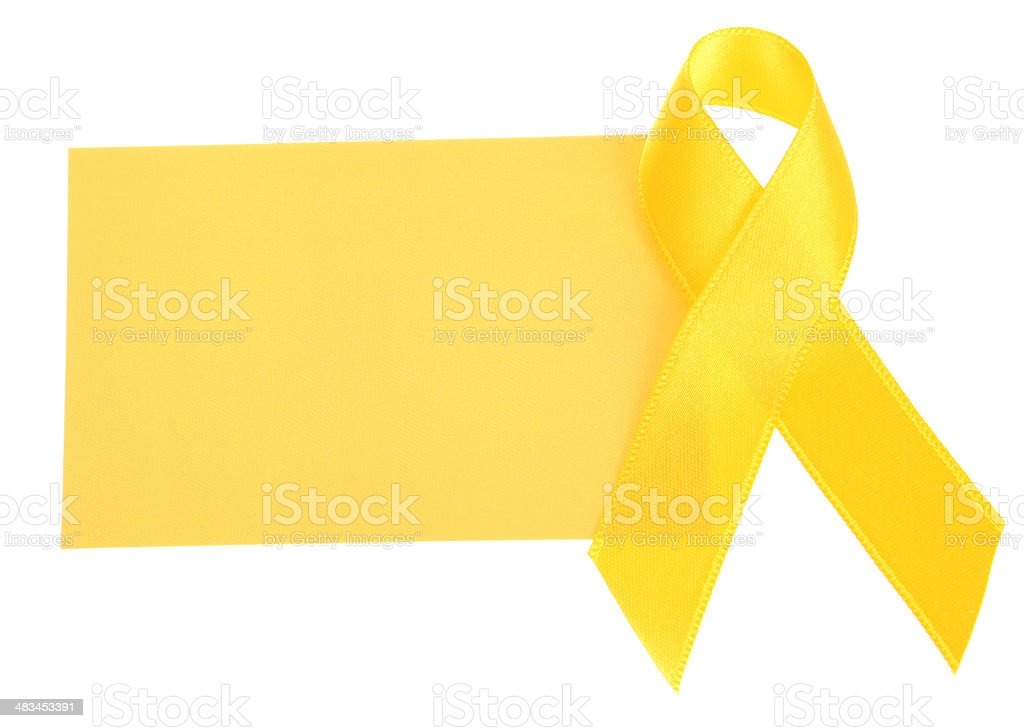 Yellow Awareness Ribbon with Blank Card royalty-free stock photo