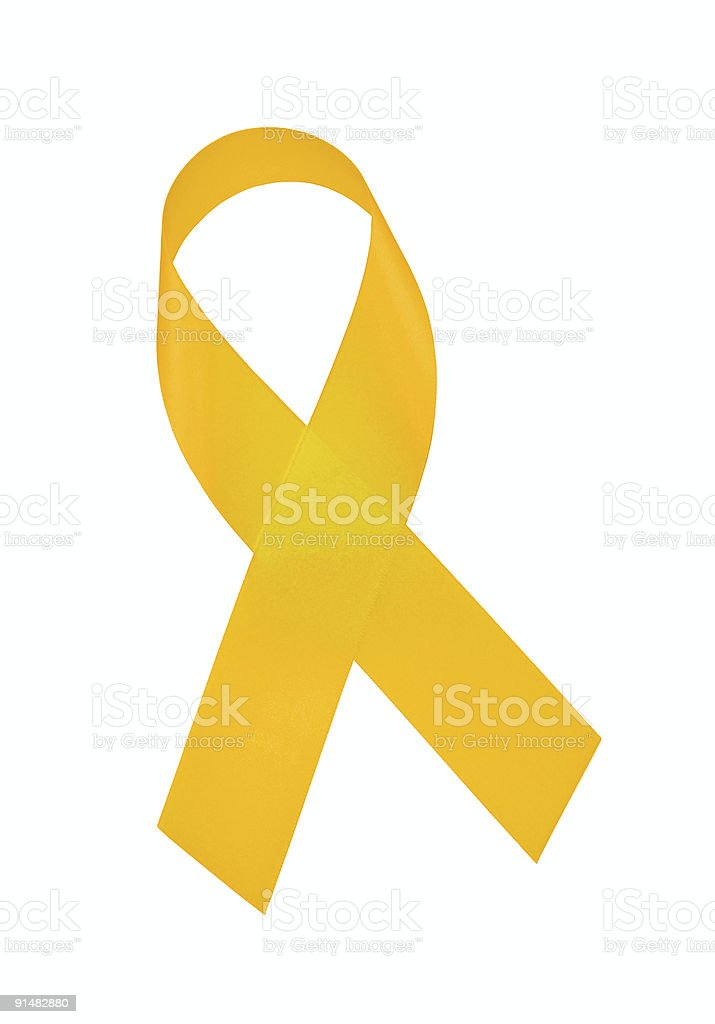 Yellow Awareness Ribbon with CLIPPING PATH stock photo