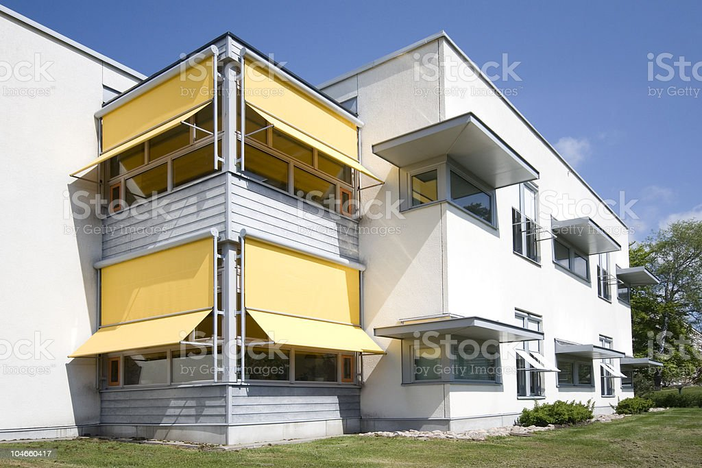 yellow awnings royalty-free stock photo