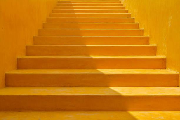 Yellow Background Steps stock photo