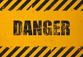 Yellow background with black grunge danger sign