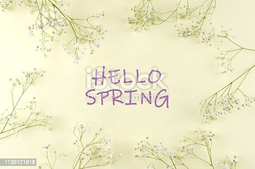 1147995495 istock photo Yellow background with gypsophila branches and the text hello spring. 1135121918