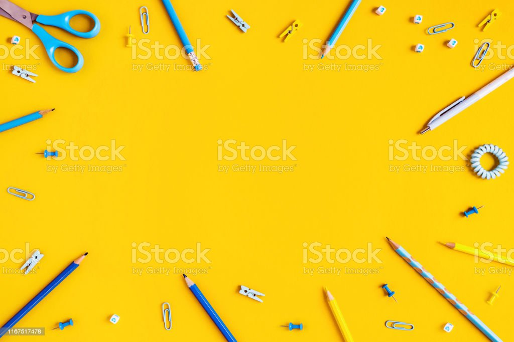 https www istockphoto com photo yellow background with pens and pencils for school advertising gm1167517478 322001197