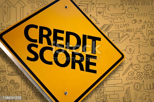 CREDIT SCORE / Yellow background with WARNING SIGN with charts and diagrams on background (Click for more)