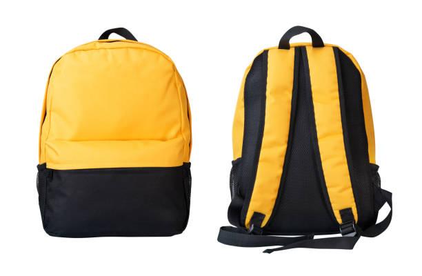 黃色背包正面和背面視圖隔離在白色 - 背囊 個照片及圖片檔