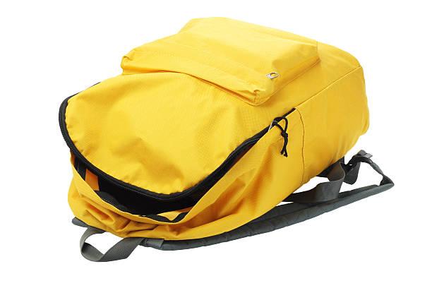 giallo zaino - cartella scolastica foto e immagini stock