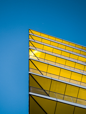 Yellow Balconies Ceilings with blue sky