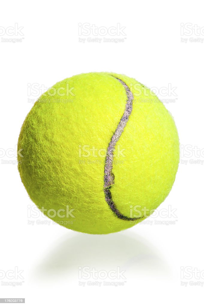 yellow ball for the game of tennis on  white background royalty-free stock photo