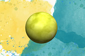 yellow ball in watercolor on background