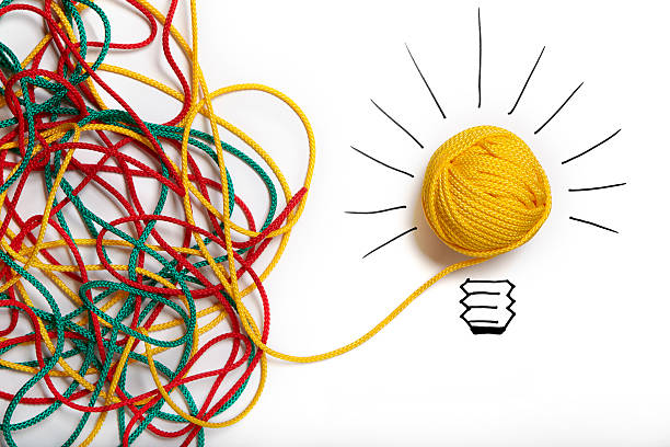 yellow ball of wool with pen lines like lightbulb - complexity stock photos and pictures