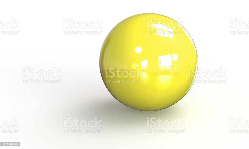 yellow ball shpere 3d model isolated on white royalty-free stock photo