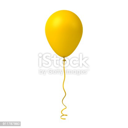 istock Yellow balloon isolated on white background 911787860